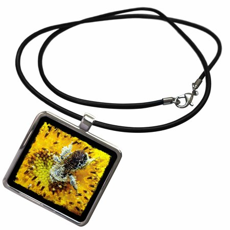 Bee Necklace - 3dRose Bumble Bee and Sunflower by Angelandspot - Necklace with Pendant (ncl_192959_1)
