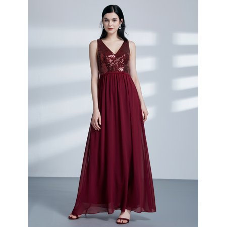Ever-Pretty Womens Floor-Length V-Neck Sequins Formal Evening Prom Homecoming Bridesmaid Party Dress for Women 07346 US 4 ()