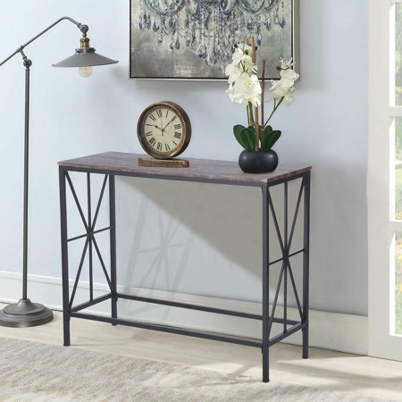 Furniture R Console Sofa Table Wooden Top Desk Metal Frame (Dark Brown) - image 6 of 6