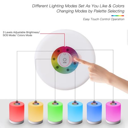 DC5V 4W Touch Control LED Night Light Lamp 3 Levels Brightness Dimmable SOS/ Color Changing Lighting Modes USB Powered Operated Built-in 1200mAh High Capacity Rechargeable Battery Portable for Bedroo - image 3 of 7