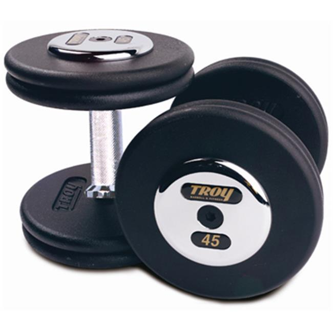 Troy Barbell PFD-150C Black Troy Pro-Style Cast dumbbells - Chrome endplates - 150 lbs.  - Sold as Pairs