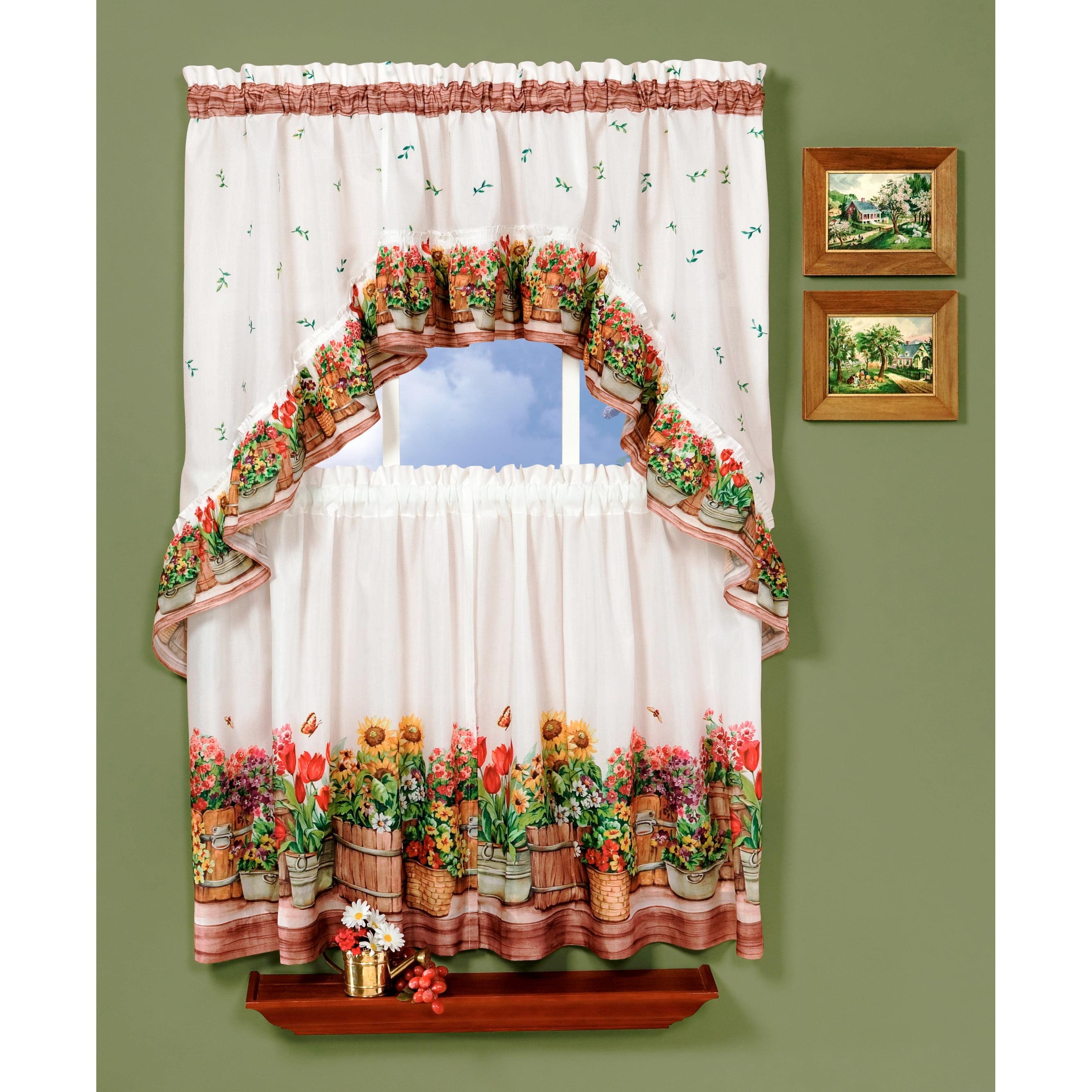 Country Garden Kitchen Curtain Tier & Swag Set