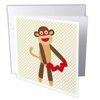 3dRose Cute Sock Monkey with Hearts - Animal Art, Greeting Cards, 6 x 6 inches, set of 6
