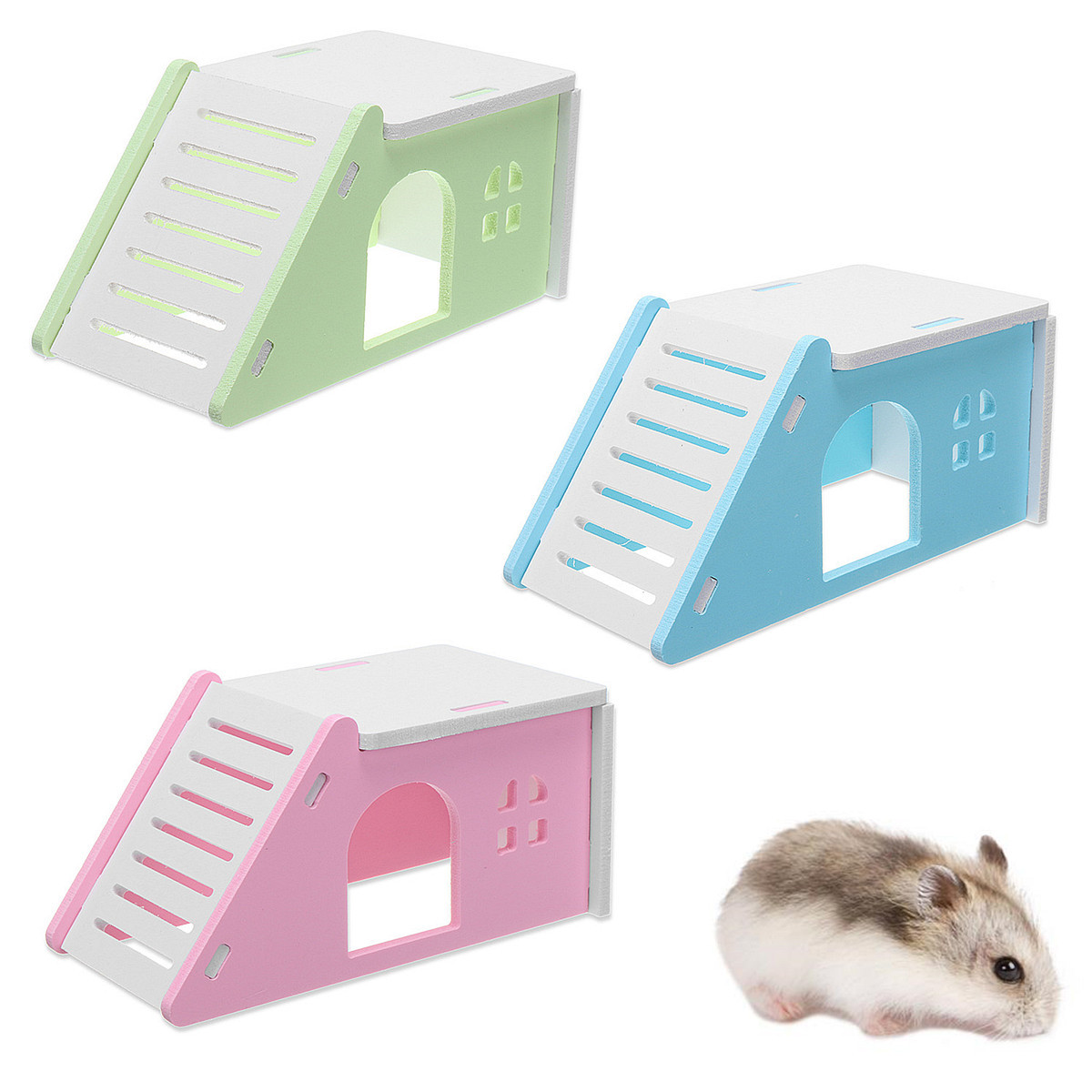Animal Pet Hamster Nest Mouse Flat House Cage Bed Ladder Playground Exercise Toy