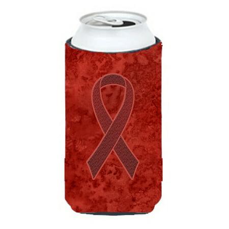 Burgundy Ribbon for Multiple Myeloma Cancer Awareness Tall Boy Beverage Insulator Hugger - Burgundy Beverage