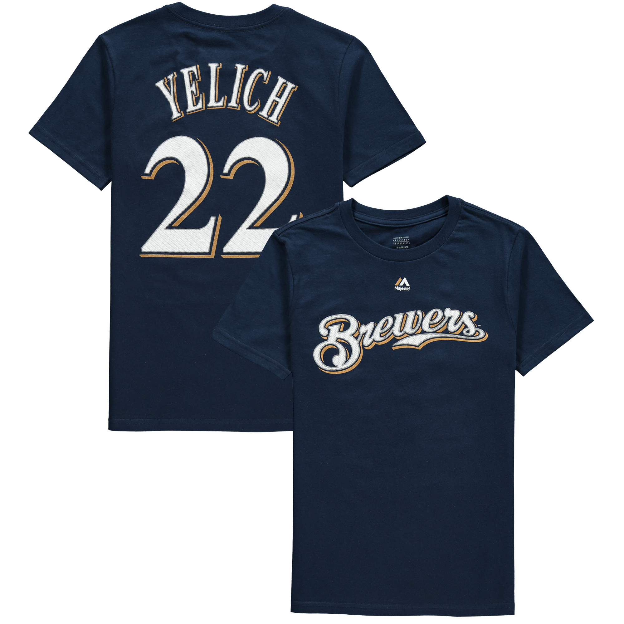 Christian Yelich Milwaukee Brewers Majestic Youth Name & Number T-Shirt - Navy