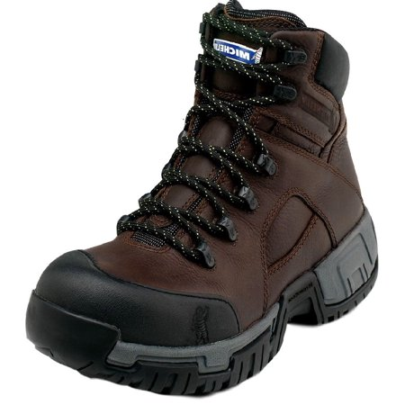 Michelin Work Boots Mens Steel Toe Waterproof Lace Up Brown (Safety Toe Lace Up Boots)