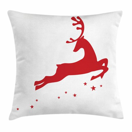 Red Throw Pillow Cushion Cover, Jumping Reindeer Leaving a Starry Trace Behind Popular Christmas Character Silhouette, Decorative Square Accent Pillow Case, 16 X 16 Inches, Red White, by Ambesonne ()