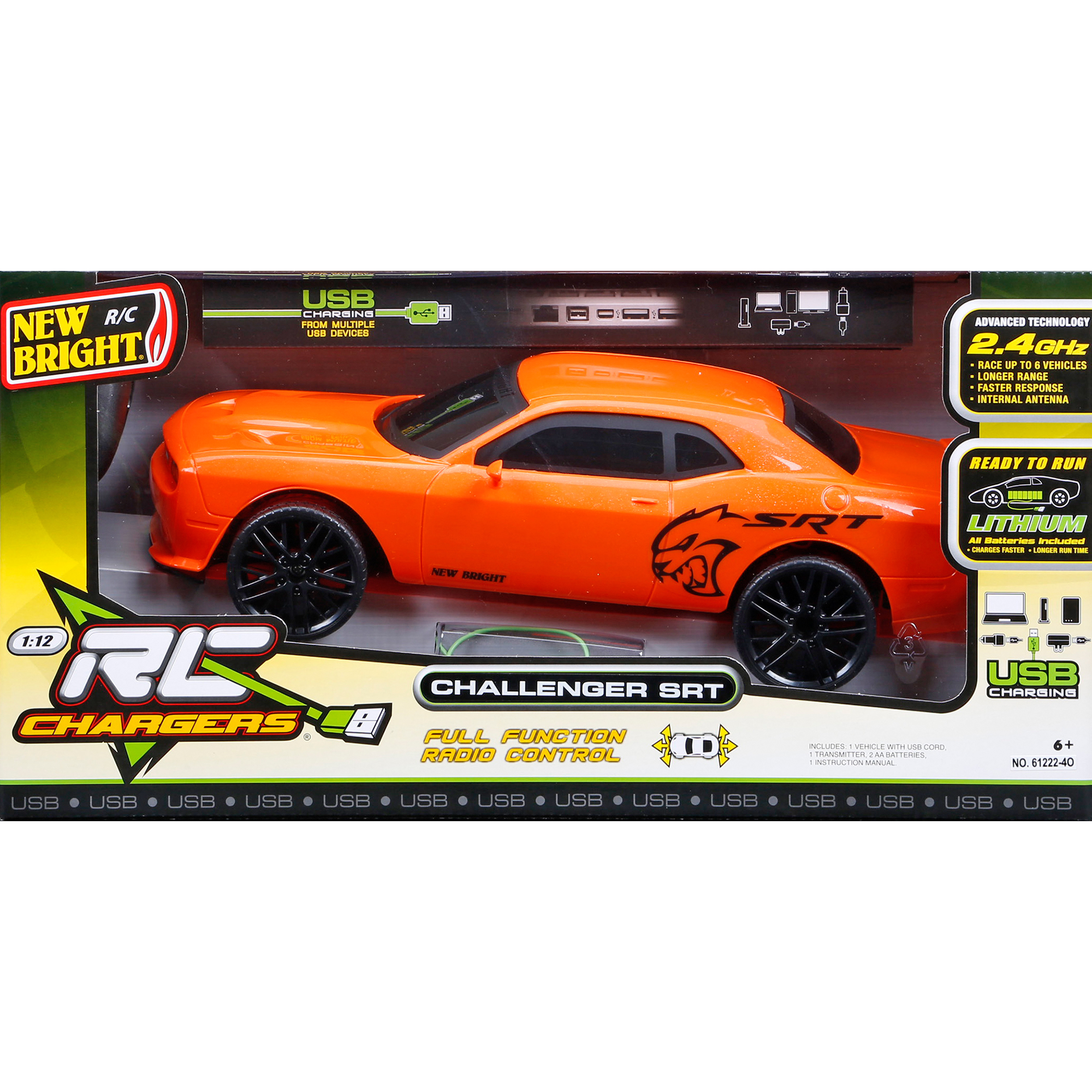 New Bright 1 12 R C Full Function Chargers Challenger Srt Orange