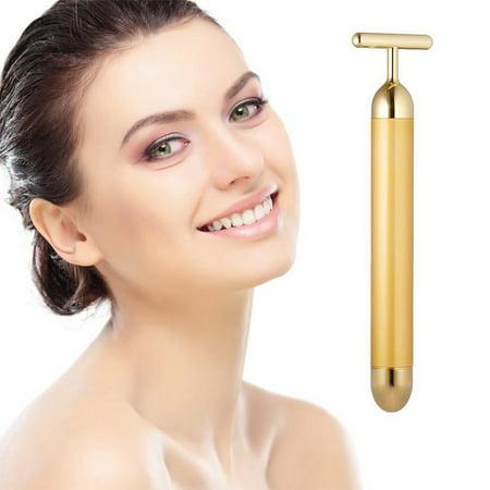 Facial Massager Beauty Bar 24k Golden Pulse Electric Facial Massager,  T-Shape Electric Sign Face Massage Tools Best Gift for Women Girlfriend Mom