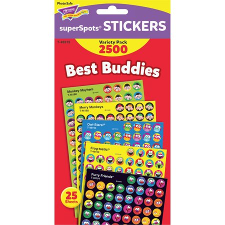 Trend, TEPT46919, Best Buddies Super Spots Stickers, 2500 / Pack, (Best Hiking Stickers)