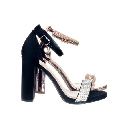 Laser by Delicious, Retro Rhinestone Embellished High Chunky Block Heel Party Dress