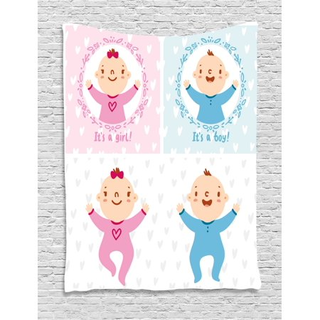 Gender Reveal Decorations Tapestry, Baby Boy Girl Infants Newborn Celebration Hearts Theme, Wall Hanging for Bedroom Living Room Dorm Decor, 60W X 80L Inches, Light Pink Sky Blue, by Ambesonne