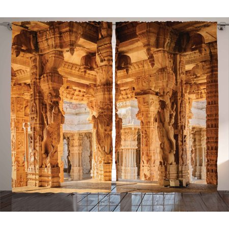 Pleasing Ancient Decor Curtains 2 Panels Set Historical Columns Architecture Ruins Famous Indian Monument Culture Picture Window Drapes For Living Room Interior Design Ideas Inamawefileorg