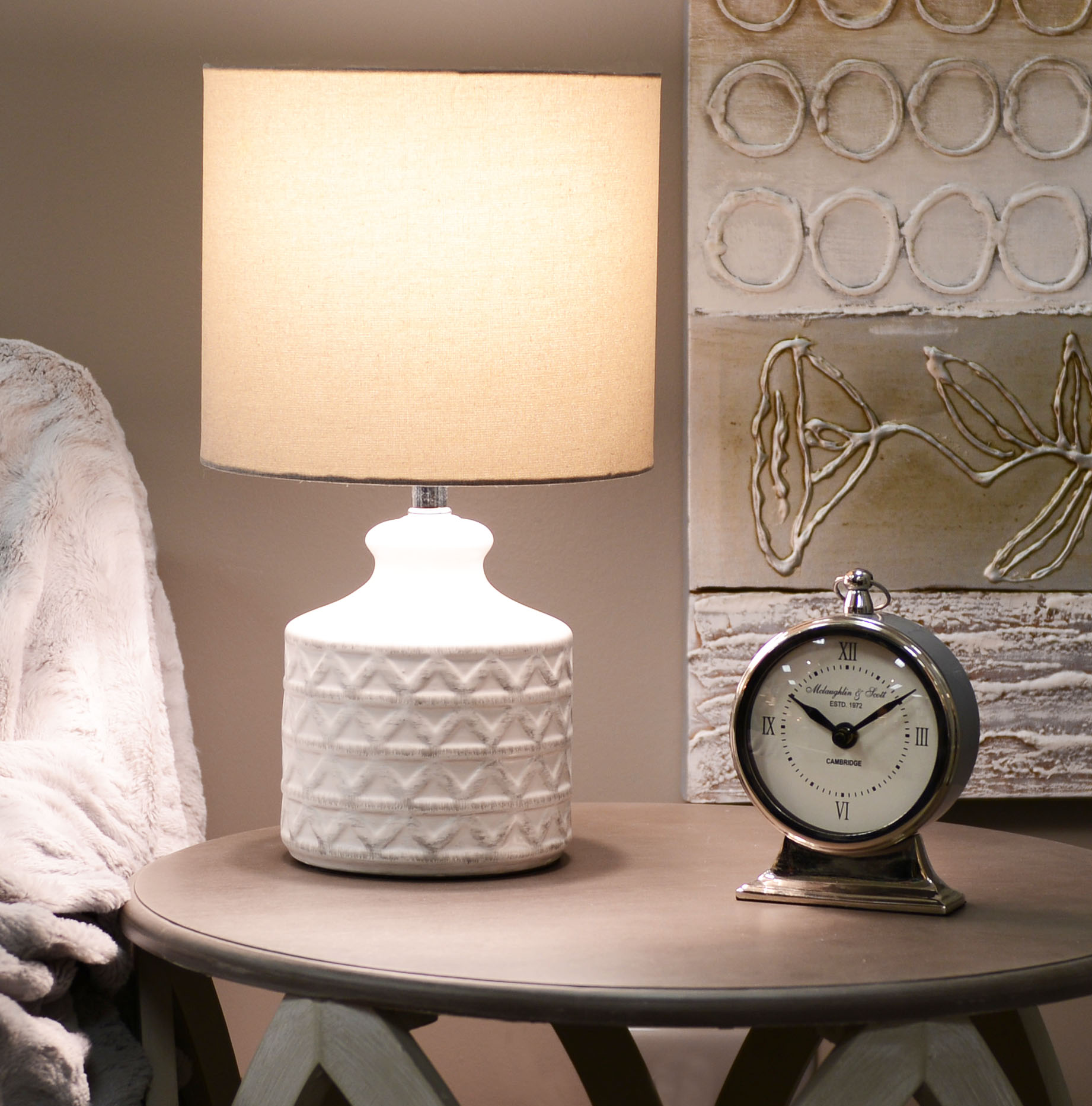 Better Homes and Gardens Diamond Weave Table Lamp - Distressed White - BULB INCLUDED