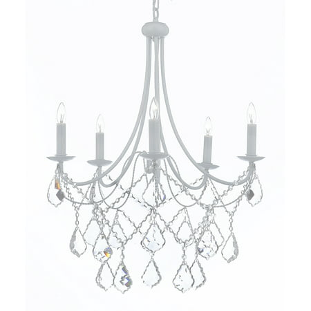 White Wrought Iron Chandelier Chandeliers Lighting Crystal Light Fixture Country French Arm White Flower Crystal Chandelier