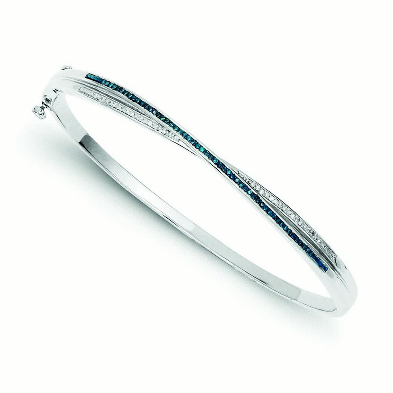 Sterling Silver Blue and White Diamond Bangle Bracelet .25 dwt by Jewelryweb