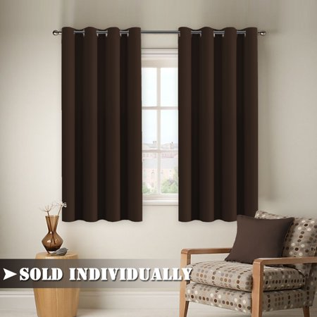 FlamingoP Curtains for Living Room, Opaque Ultimate Performance Solid Pattern Drape, Thermal Insulated, Grommet Top, One Panel 84 by 52 inch -Dark