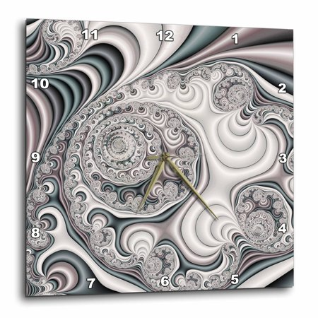 3dRose Pretty Pearl Satin Abstract Fractal Digital Art, Wall Clock, 15 by 15-inch ()