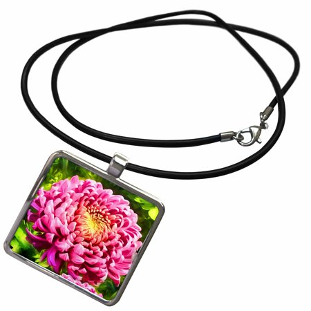 3dRose Pink Dahlia Flower Garden Painting with Yellow Center - Necklace with Pendant (ncl_240637_1)