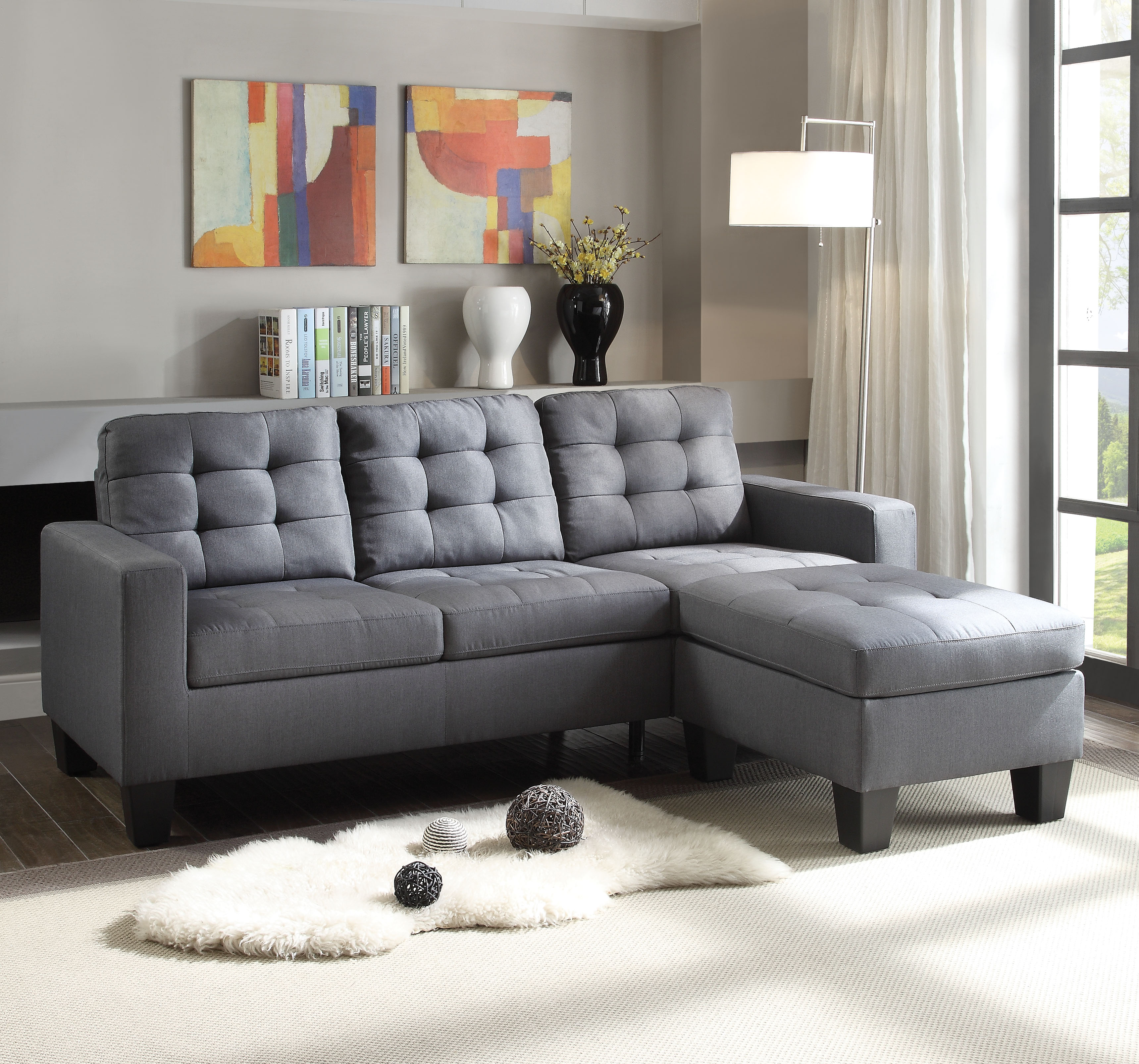 ACME Earsom Tufted Sectional Sofa in Gray Linen Upholstery