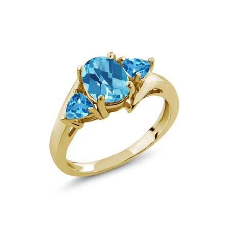 1.86 Ct Oval Checkerboard Swiss Blue Topaz 18K Yellow Gold Plated Silver Ring