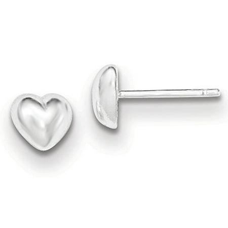 .925 Sterling Silver 6 MM Heart Post Stud Earrings MSRP $25