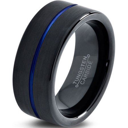 Tungsten Wedding Band Ring 10mm for Men Women Black Blue Center Line Pipe Cut Brushed Lifetime Guarantee