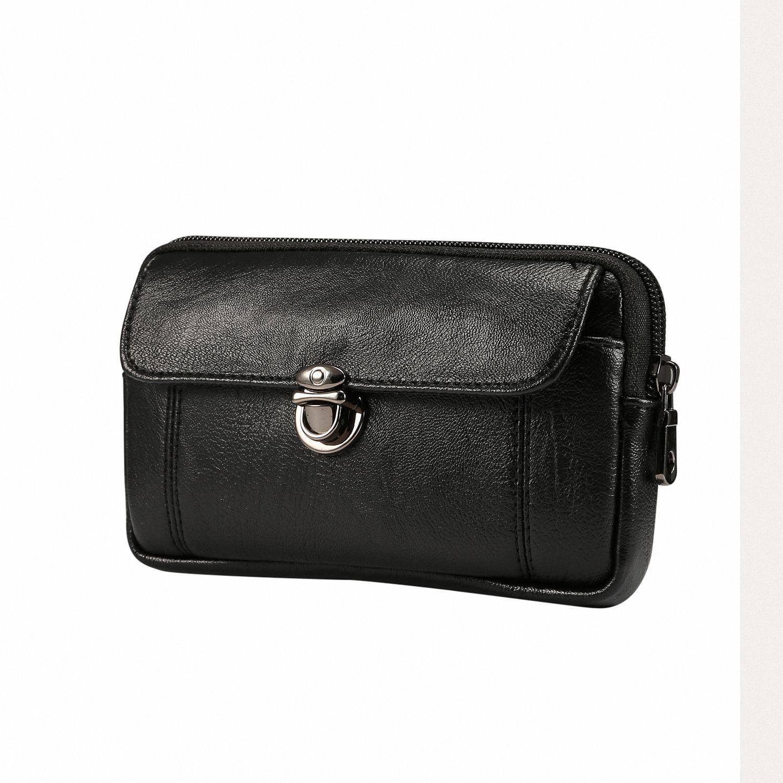 USA Men Waist Fanny Pack Belt Bag PU Leather Outdoor Sports Small Wallet Purse L