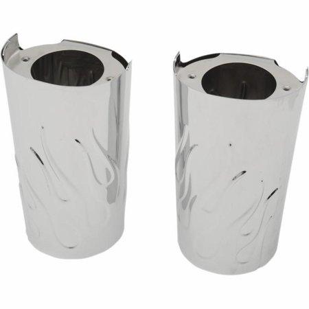 Drag Specialties 0411-0130 Flame Fork Slide Covers - Stock Length - Chrome ()