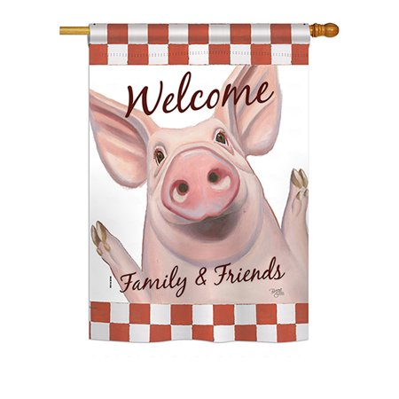 Breeze Decor - Welcome Piggy Nature - Everyday Farm Animals Impressions Decorative Vertical House Flag 28
