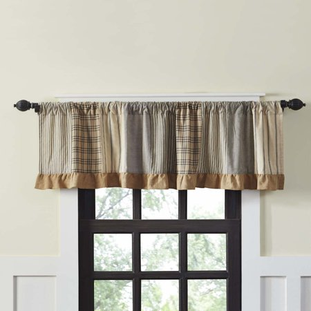Chambray Pocket - Charcoal Grey Farmhouse Kitchen Curtains Miller Farm Charcoal Rod Pocket Cotton Hanging Loops Patchwork Chambray 19x72 Valance