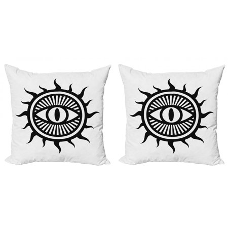Occult Throw Pillow Cushion Cover Pack of 2, Third Eye in Sun Circle Pattern the Locus of Force Artwork Print Image, Zippered Double-Side Digital Print, 4 Sizes, Black and White, by Ambesonne Two Thirds Circle