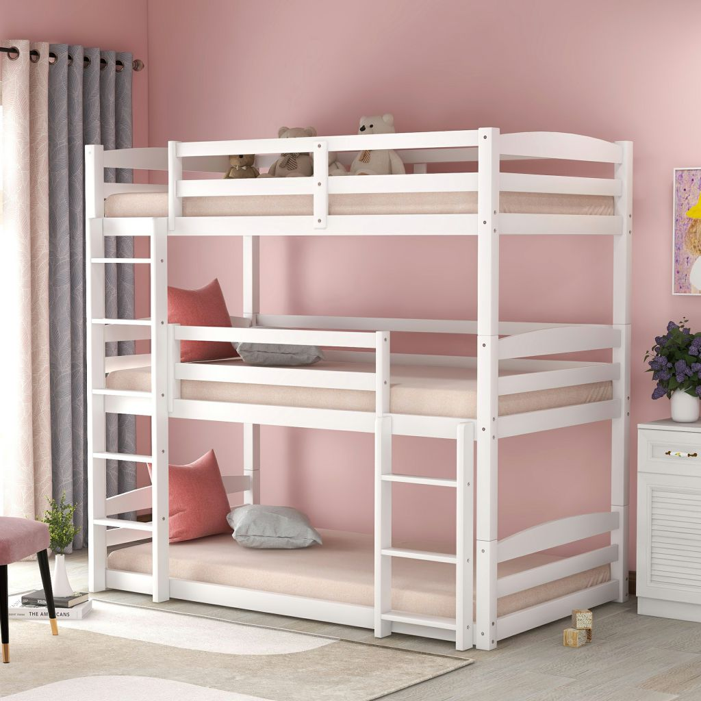 Twin Over Twin Over Twin Bunk Bed Solid Wood Twin Triple Bunk Bed With Staircase Safety Guard Rail For Kids Adults Can Be Divided Into 3 Separate Beds White Walmart Com Walmart Com