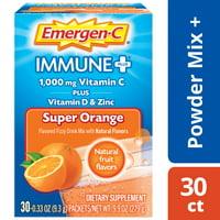 Emergen-C Immune+ Vitamin C Drink Mix,Super Orange, 1000mg, 30 Ct
