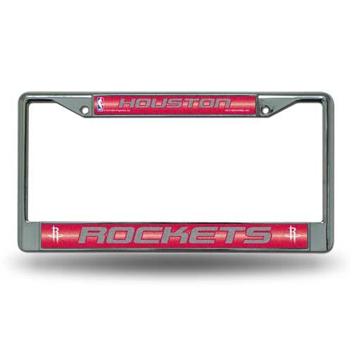 Houston Rockets Laser Etched Chrome License Plate Frame (Glitter)