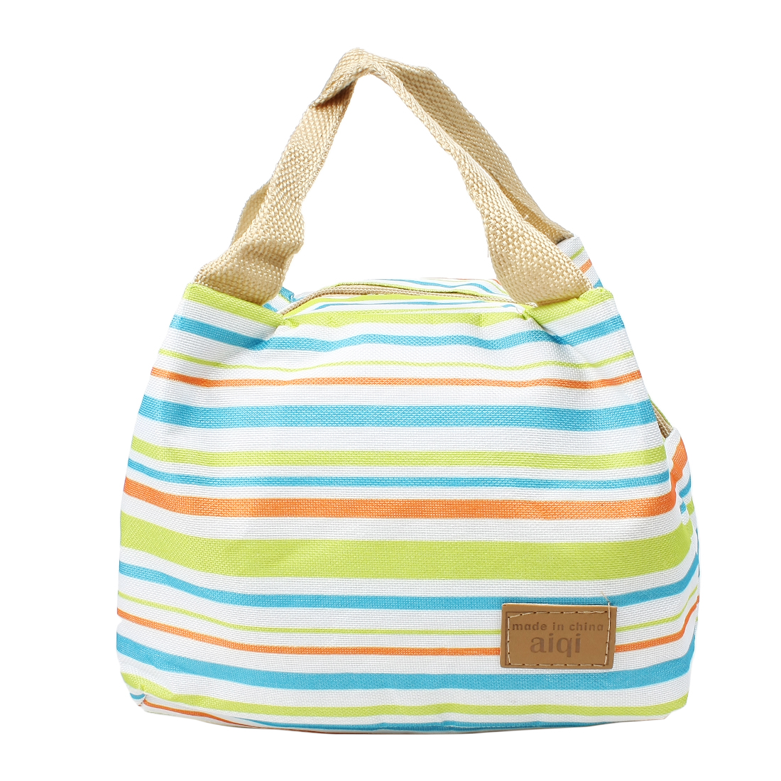 Canvas Picnic Lunch Drink Stripe Thermal Insulated Cooler Bag Assorted Color