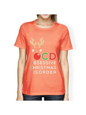Rudolph OCD Womens Peach Stylish Crewneck Tee X-Mas Present
