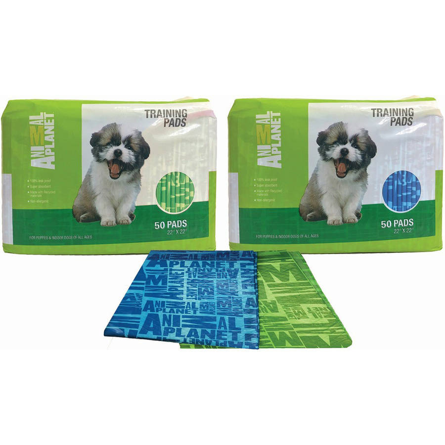 Animal Planet Pet Training Pads, 100pk, Assorted Green or Blue