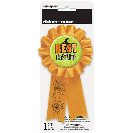 Best Costume Halloween Award Badge, 5.5 in, Orange, 1ct
