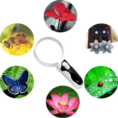 LED Magnifying Glass 10X + 5X Illuminated 2 Lens Best Magnifier Set With