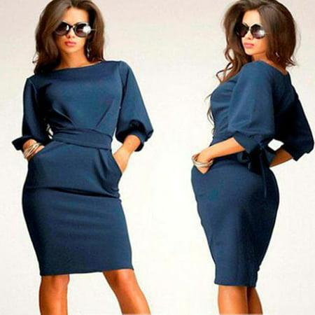- Women Working Half Sleeve O-Neck Sheath Casual Office Slim Dress D BU/M
