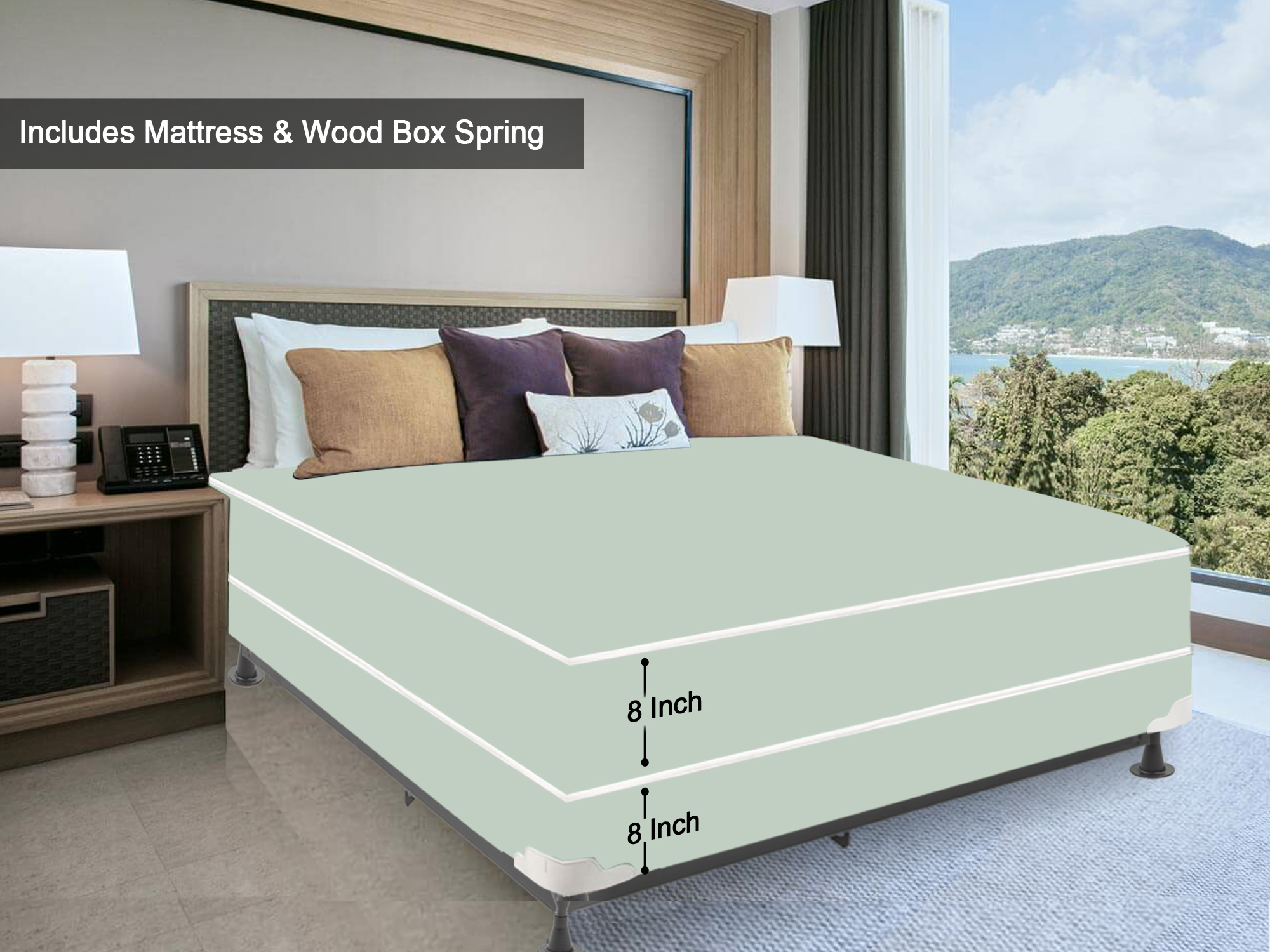 Wayton 8 Inch Tight Top Innerspring Firm Vinyl Waterproof Doublesided Mattress And Wood Box