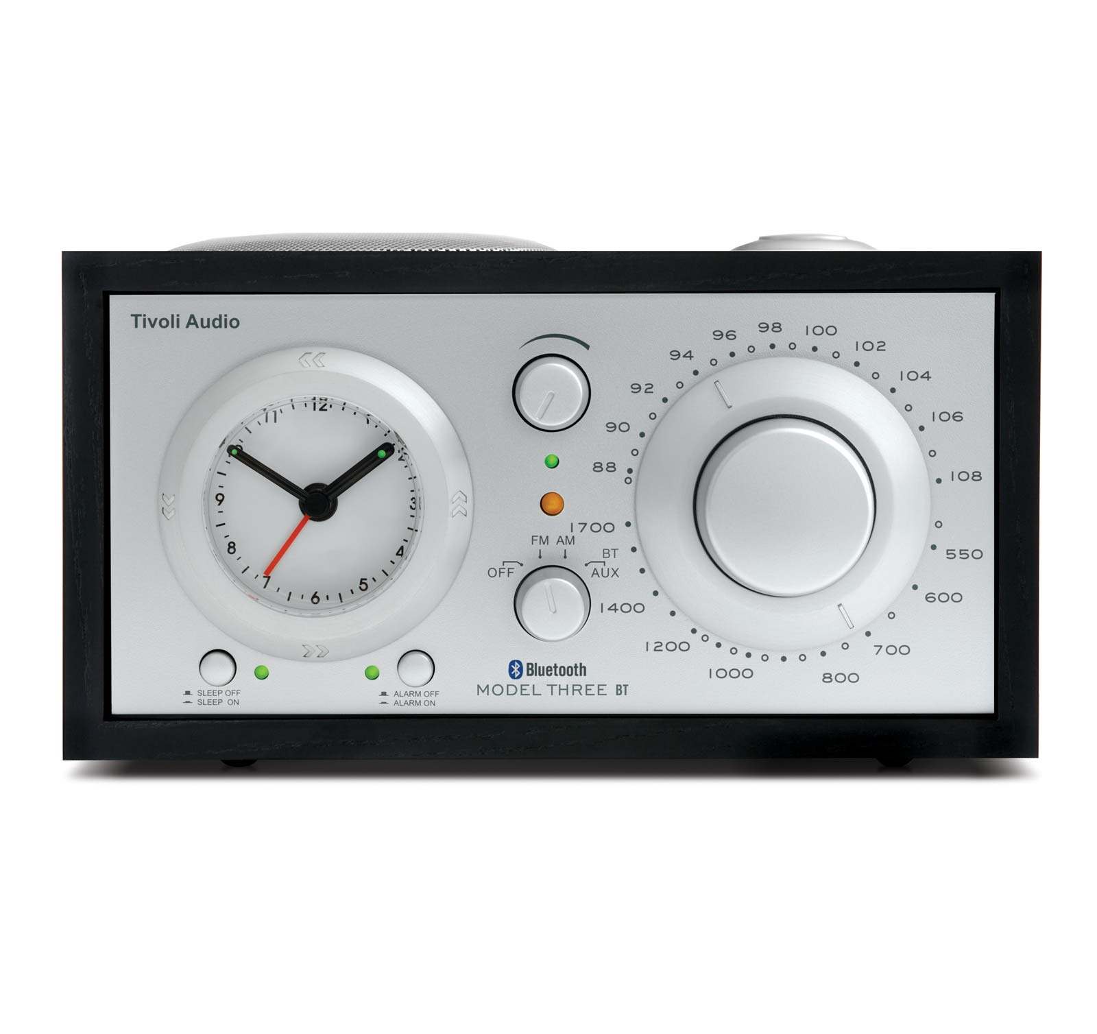Tivoli Audio Model Three BT Black Silver AM FM Clock Radio with Bluetooth by Tivoli