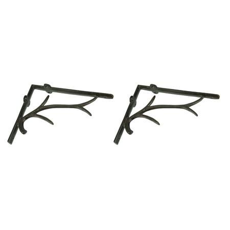 - Set of 2 Rustic Brown Cast Aluminum Deer Antler Shelf Wall Brackets