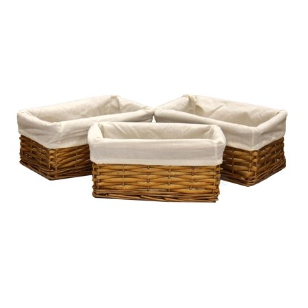 Willow Shelf Basket Lined with White Lining (Set…