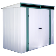 Steel Storage Shed 8 x 4 ft. Pent Roof Galvanized Meadow Green/Eggshell