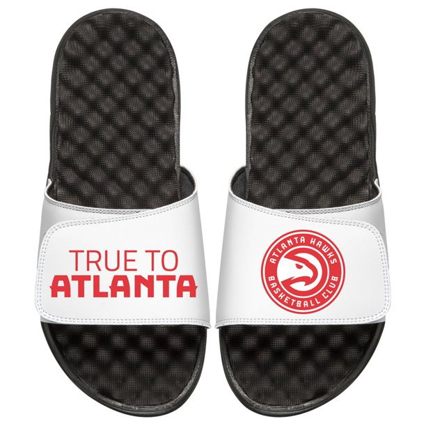 Atlanta Hawks ISlide Team Slogan Slide Sandals - Black/White