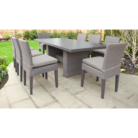 TK Classics Monterey Wicker 9 Piece Patio Dining Set with Armless Chairs ()