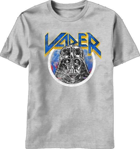 Star Wars Men's Hair Vader Short Sleeve Heather Grey Crewneck T-Shirt